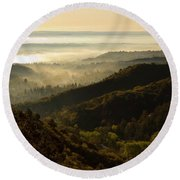 Colorado And Manitou Springs Valley In Fog Round Beach Towel