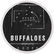 Colorado Buffaloes / Ncaa College Football Art / Boulder Round Beach Towel by Damon Gray