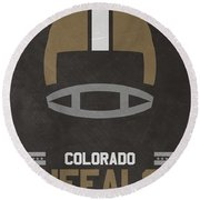 Colorado Buffalos Vintage Football Art Round Beach Towel