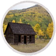 Colorado Cabin Round Beach Towel