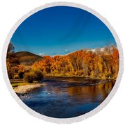 Colorado Cottonwoods In Autumn Round Beach Towel