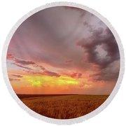 Colorado Eastern Plains Sunset Sky Round Beach Towel