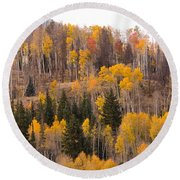 Colorado Fall Foliage Round Beach Towel