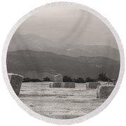 Colorado Farming Panorama View In Black And White Round Beach Towel