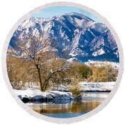 Colorado Flatirons 2 Round Beach Towel