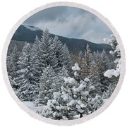 Colorado Foothills Winter Panorama Round Beach Towel