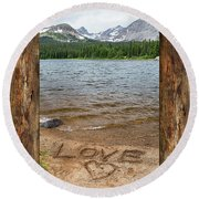 Colorado Love Window  Round Beach Towel