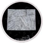 Colorado Map Music Notes 2 Round Beach Towel