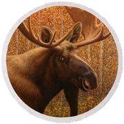 Colorado Moose Round Beach Towel by James W Johnson