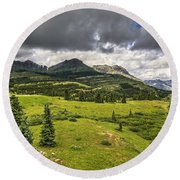 Colorado Mountains After Summer Rain Round Beach Towel