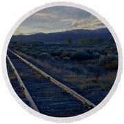 Colorado Railroad Crossing Round Beach Towel