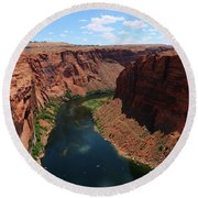 Colorado River At Glen Canyon Dam Round Beach Towel
