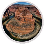 Colorado River Circles Horseshoe Bend Page Arizona Usa Round Beach Towel