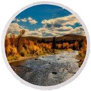 Colorado River In Autumn Round Beach Towel