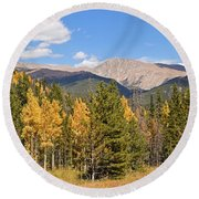 Colorado Rockies National Park Fall Foliage Panorama Round Beach Towel
