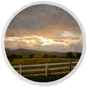 Colorado Rocky Mountain Country Sunset Round Beach Towel