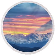 Colorado Rocky Mountain Sunset Waves Of Light Part 1 Round Beach Towel