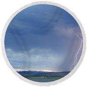 Colorado Rocky Mountains Foothills Lightning Strikes Round Beach Towel
