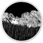 Colorado Rocky Mountains Indian Peaks Fine Art Bw Print Round Beach Towel