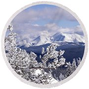 Colorado Sawatch Mountain Range Round Beach Towel