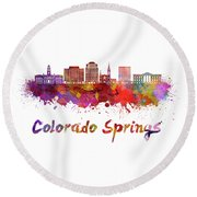 Colorado Springs V2 Skyline In Watercolor Round Beach Towel