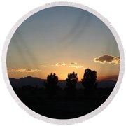 Colorado Trees In Sunset Round Beach Towel by Colleen Cornelius