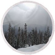 Colorado Winter Peace Round Beach Towel