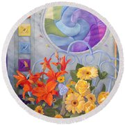 Colordance Of Summer Round Beach Towel