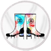 Colored Chanel Boots Round Beach Towel