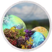 Colored Easter Eggs In Basket And Spring Flowers Round Beach Towel