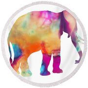 Colored Elephant Painting Round Beach Towel