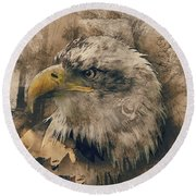 Colored Etching Of American Bald Eagle Round Beach Towel