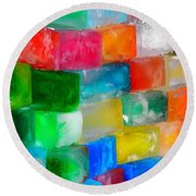 Colored Ice Bricks Round Beach Towel