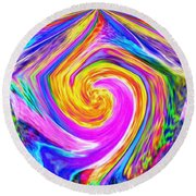 Colored Lines And Curls Round Beach Towel