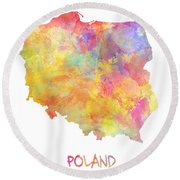 Colored Map Of Poland Round Beach Towel