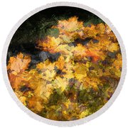 Colored Maple Leaves Round Beach Towel