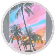 Colored Palms Round Beach Towel