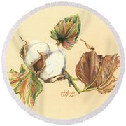 Colored Pencil Cotton Plant Round Beach Towel