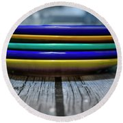 Colored Plates 1 Round Beach Towel