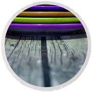 Colored Plates 4 Round Beach Towel