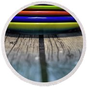 Colored Plates 5 Round Beach Towel