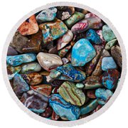 Colored Polished Stones Round Beach Towel