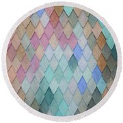 Colored Roof Tiles - Painting Round Beach Towel