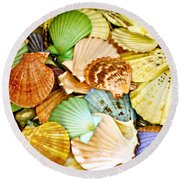Colored Shells Round Beach Towel