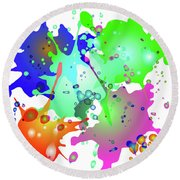 Colored Splashes On A Blue Background Round Beach Towel