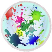 Colored Splashes On A Very Beautiful Blue Background Round Beach Towel