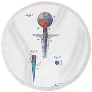 Colorful 1899 Golf Tee Patent Round Beach Towel