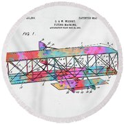 Colorful 1906 Wright Brothers Flying Machine Patent Round Beach Towel