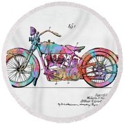 Colorful 1928 Harley Motorcycle Patent Artwork Round Beach Towel