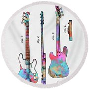 Colorful 1953 Fender Bass Guitar Patent Artwork Round Beach Towel by Nikki Marie Smith